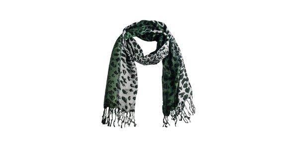 Dámská zelená leopardí šála Via Bellucci