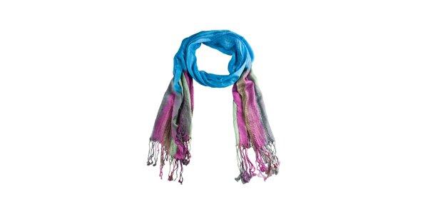 Dámská modro-růžová šála s třásněmi Via Bellucci