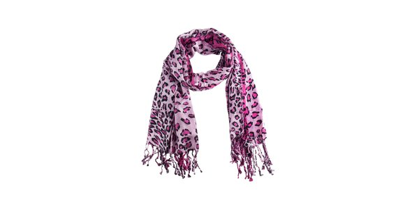 Dámská růžová leopardí šála Via Bellucci