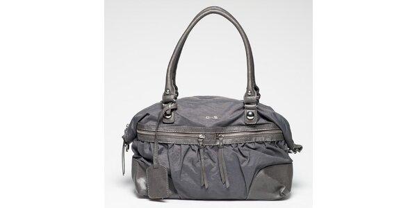 Dámská šedá kabelka s vnější zipovou kapsičkou Gas