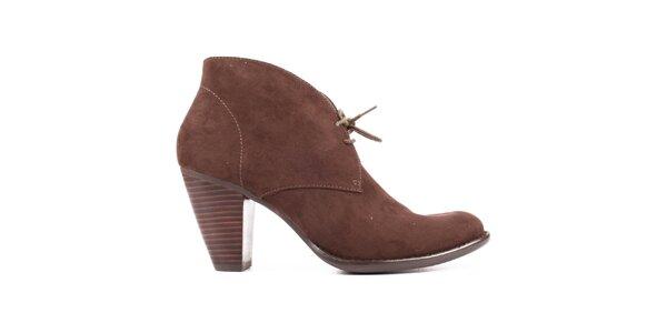 Dámské hnědé semišové boty s podpatkem Elite