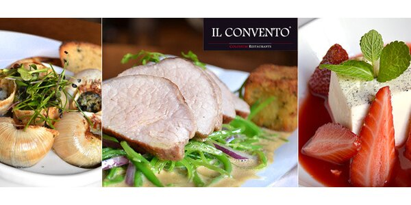 Úžasné menu pro dva v restauraci IL CONVENTO