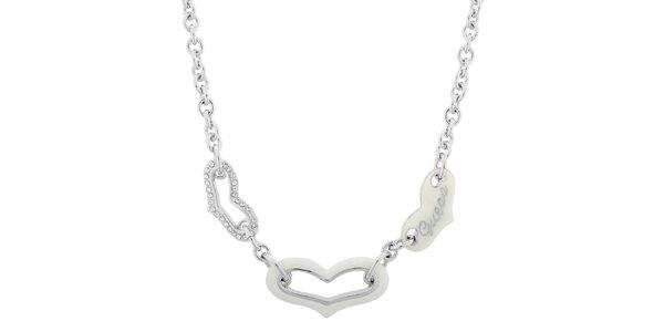 Dámský náhrdelník se třemi srdíčky Guess