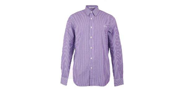 Pánská fialovo-bílá proužkovaná košile GAS