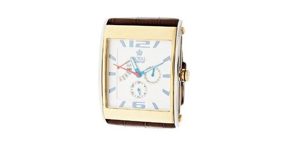 Zlato-stříbrné hodinky Royal London s hnědým koženým řemínkem