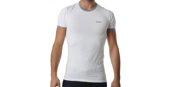 Pánské bílé tričko s šedými lemy Kenzo