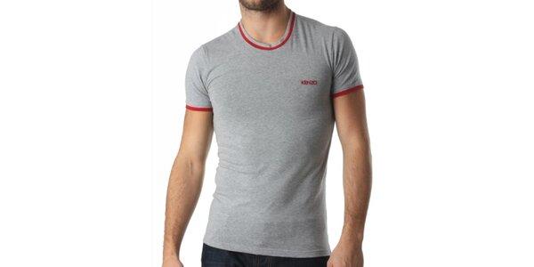 Pánské šedé tričko s červenými prvky Kenzo