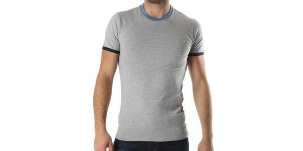Pánské šedé tričko s modrými lemy Kenzo