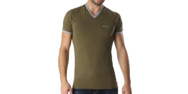Pánské khaki tričko s véčkovým výstřihem Kenzo