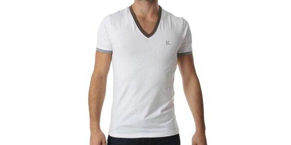 Pánské bílé tričko s výstřihem do V a kontrastními lemy Kenzo