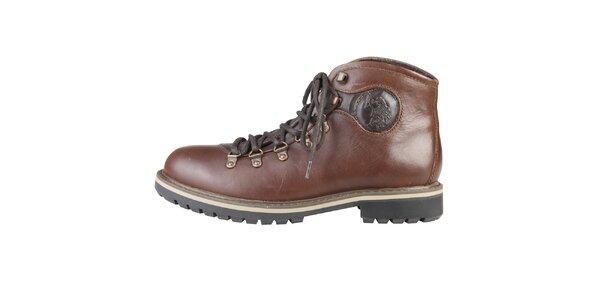 Pánské hnědé kotníčkové kožené boty U.S. Polo