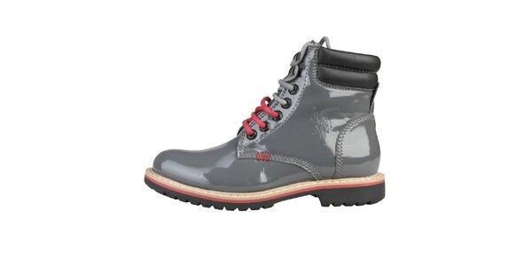 Dámské lesklé šedé boty U.S. Polo
