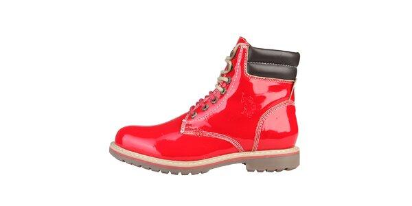 Dámské lesklé červené boty U.S. Polo