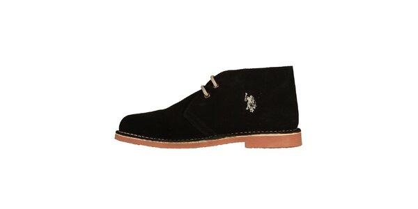 Pánské černé kotníčkové semišové boty U.S. Polo