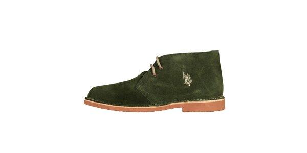 Pánské trávově zelené kotníčkové semišové boty U.S. Polo