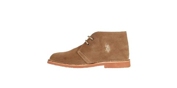 Pánské oříškově hnědé kotníčkové semišové boty U.S. Polo