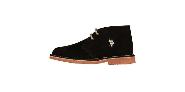 Dámské černé šněrovací boty U.S. Polo