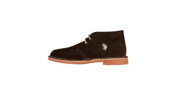 Dámské tmavě hnědé šněrovací boty U.S. Polo