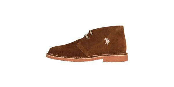 Dámské kaštanově hnědé šněrovací boty U.S. Polo