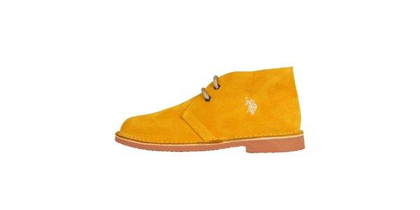 Dámské světle oranžové semišové boty U.S. Polo