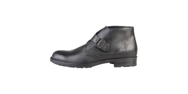 Pánské kožené černé boty s přezkou U.S. Polo