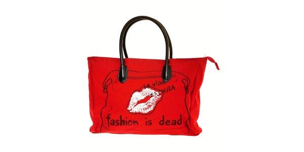 Dámská červená látková taška na notebook Desigual