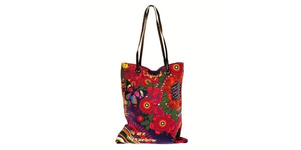 Dámská pestrobarevná taška Desigual s černými úzkými uchy