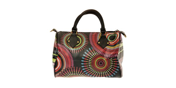 Dámská černá kabelka Desigual s barevným potiskem