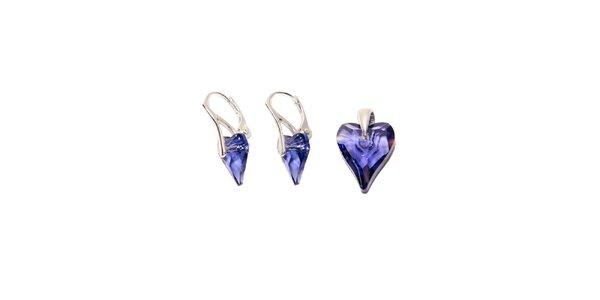 Set náušnic a přívěsku značky Swarovski Elements – tmavě fialová podlouhlá srdce