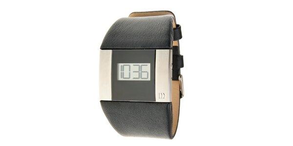 Pánské černo-stříbrné digitální hodinky Danish Design s černým koženým páskem