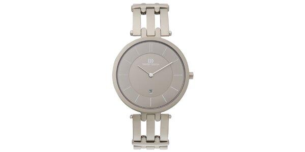 Dámské kulaté hodinky s šedostříbrným ciferníkem Danish Design