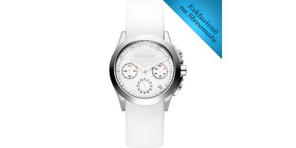 Dámské bílé hodinky s ocelovým pouzdrem Danish Design