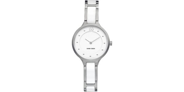 Dámské titanové bílé hodinky s analogovým ciferníkem Danish Design