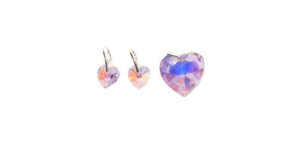 Set náušnic a přívěsku značky Swarovski Elements – světle fialová srdce