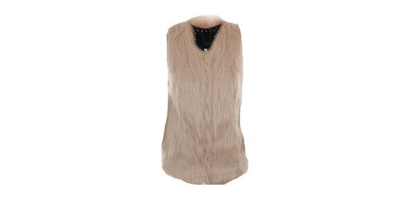 Dámská světle růžová kožíšková vesta Company&Co