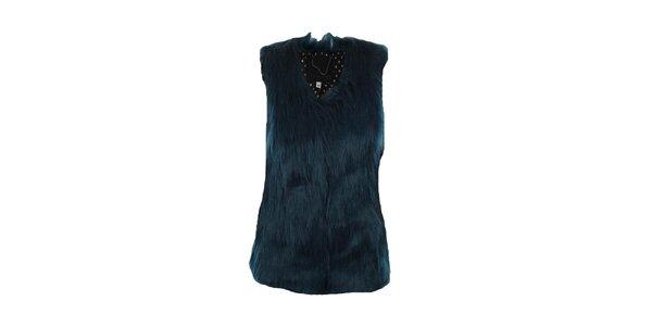 Dámská temně modrá kožíšková vesta Company&Co