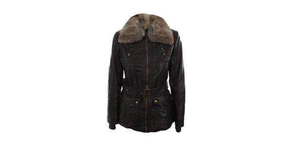 Dámská tmavě hnědá bunda s kožíškovým límcem Company&Co