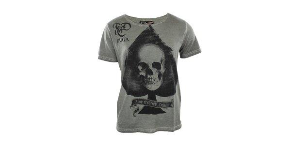 Pánské šedé tričko s lebkou Fuga
