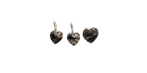 Set náušnic a přívěsku značky Swarovski Elements – srdce černé barvy