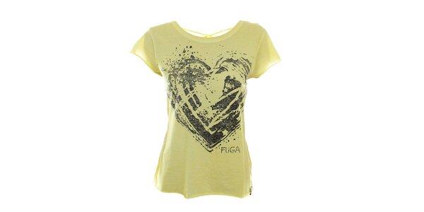 Dámské žluté tričko se šněrováním na zádech Fuga