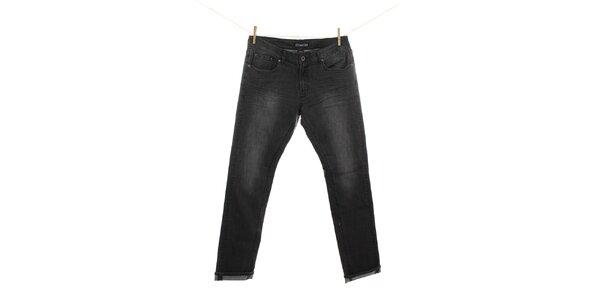 Pánské černé džíny s mírným šisováním Fuga