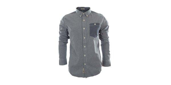Pánská košile s modrou náprsní kapsou Fuga