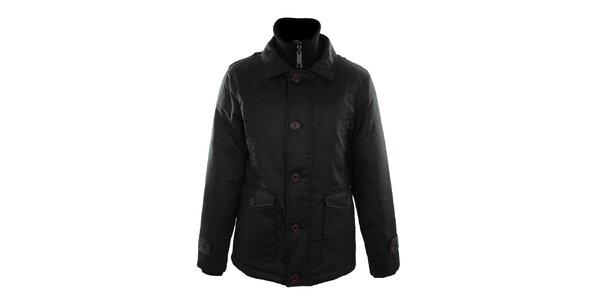 Pánská černá bunda s plastovými knoflíky Fuga