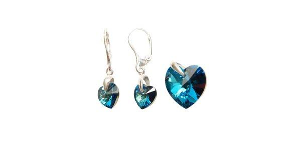 Set náušnic a přívěsku značky Swarovski Elements – tmavě modrá drobná srdce
