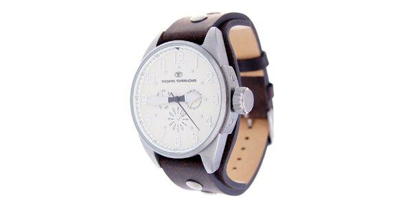 Pánské hodinky Tom Tailor s hnědým koženým řemínkem