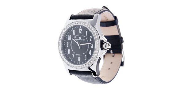 Dámské černé hodinky Tom Tailor se třpytivými kamínky