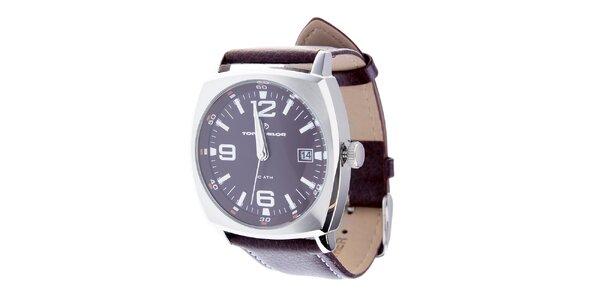 Pánské hnědé hodinky Tom Tailor s koženým řemínkem