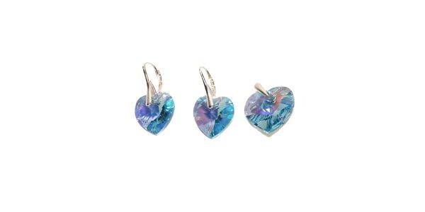 Set náušnic a přívěsku značky Swarovski Elements – světle modrá srdce