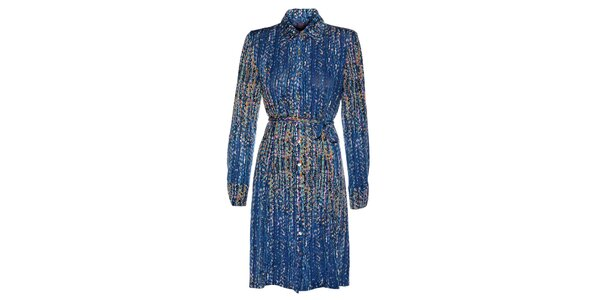 Dámské tmavě modré šaty Hope s pestrobarevným potiskem