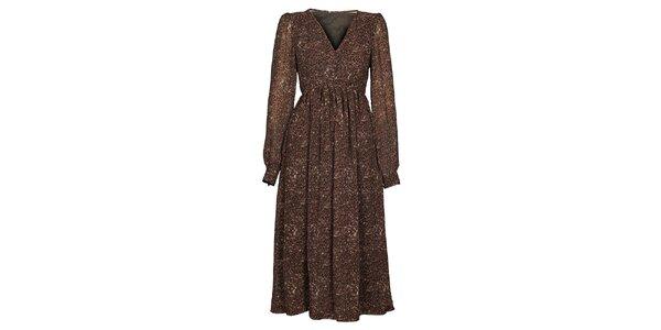 Dámské tmavě hnědé šaty Hope s potiskem